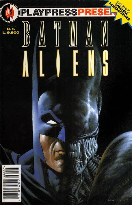 """Batman vs Aliens"" (1997) Cover di Bernie Wrightson #DarkHorseComics #Aliens #Batman #DDComics"