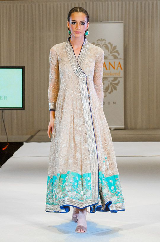 Nida Azwer Angarkha ... Cream and turquoise with embroidery and embellishments, blue accent ... Swoon!