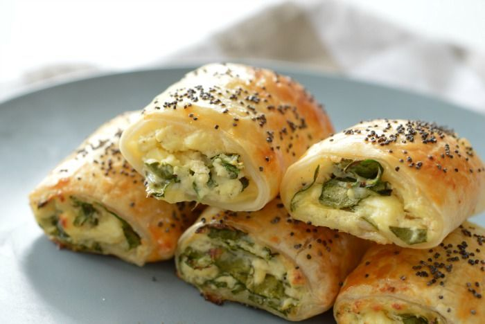 Spinach and Three Cheese Rolls