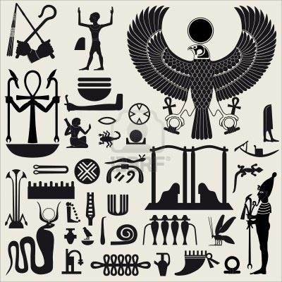 Silhouettes égyptien de symboles et signes Set 2  Banque d'images