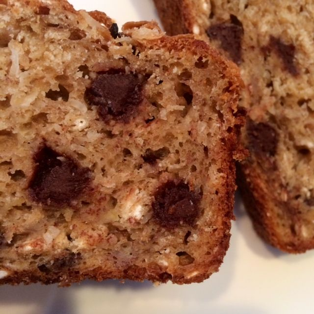 Skinny Chocolate Coconut Oatmeal Banana Bread. A lightened up, healthy banana bread, packed with oats, coconut, and chocolate chips.