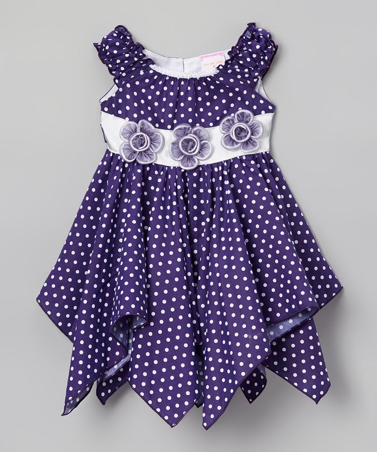 Lele for Kids Dark Purple Polka Dot Floral Handkerchief Dress - Toddler & Girls | zulily