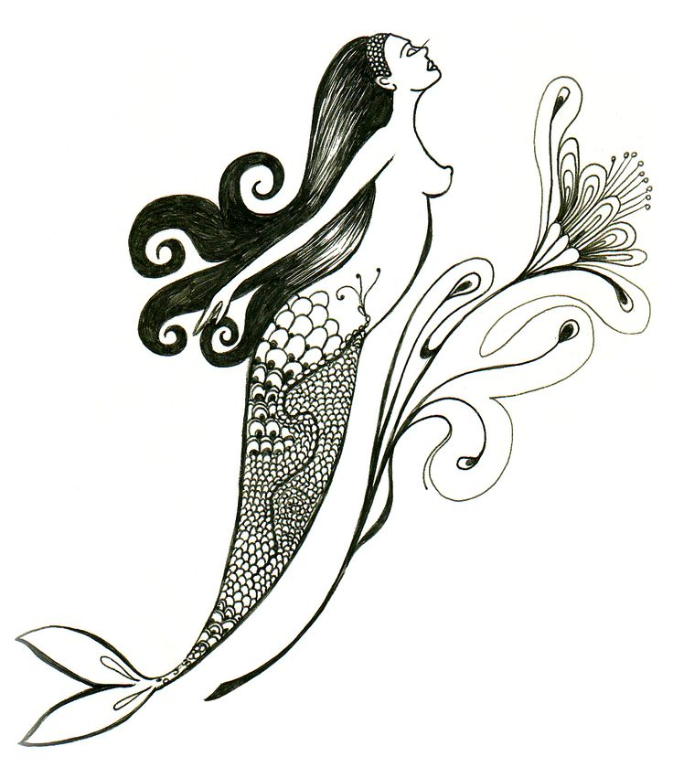 Drawing free mermaid Blackpen© cherchelicorne