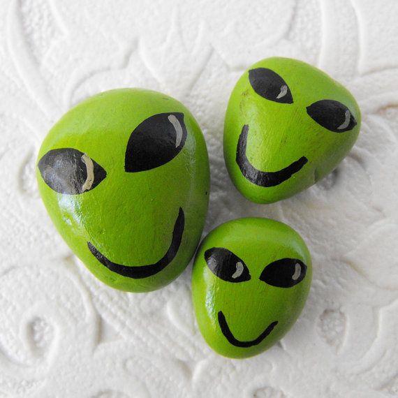 Hand Painted Rocks - A Set of Three Friendly Little Green Alien Head Stones - Interactive Art - Aliens Rock