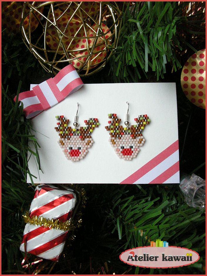 "Boucles d'oreilles ""rennes"" en perles Miyuki (tissage brick stitch)."