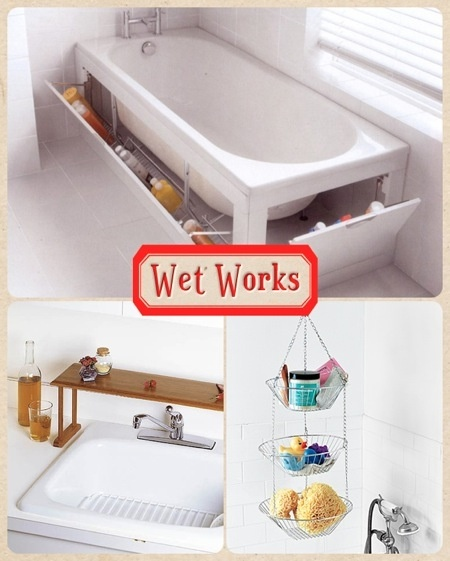 Creative ideas for bathroom storage...Wonder if you have to buy a tub like that or can modify it?
