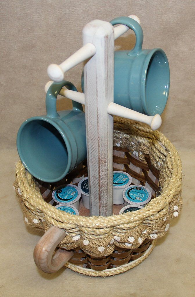 Shabby Chic Collection--Coffee Mug Basket distressed w/ribbon