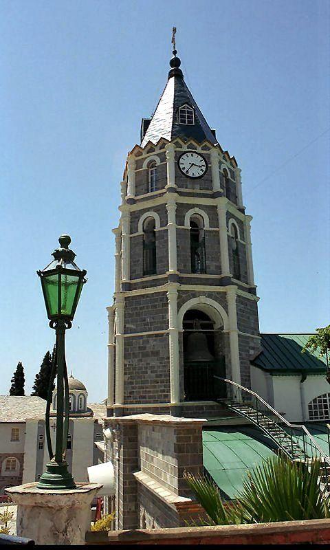 The Bell tower of St. Panteleimon Monastery, Mount Athos, Greece