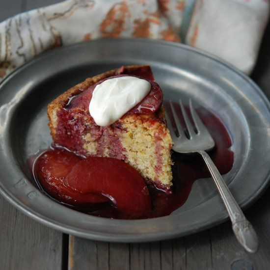 "Almond and Orange Cake with Poached Plum Compote | Andrew Zimmern: ""The poached plums are insane with this dish. I serve it with plenty of sweetened crème fraîche passed at the table."""