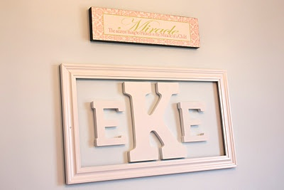 Wall monogram: picture frame & wood letters