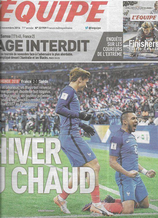 L'EQUIPE n°22759 12/11/2016 Coupe du monde/ les Bleus