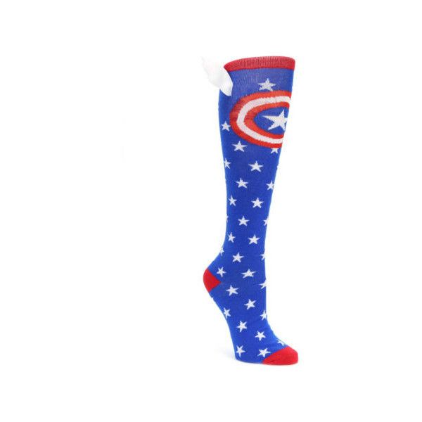 Blue Red Captain American Women's Knee High Socks - BIOWORLD ❤ liked on Polyvore featuring intimates, hosiery, socks, red knee high socks, blue knee high socks, knee hi socks, bioworld socks and red knee socks