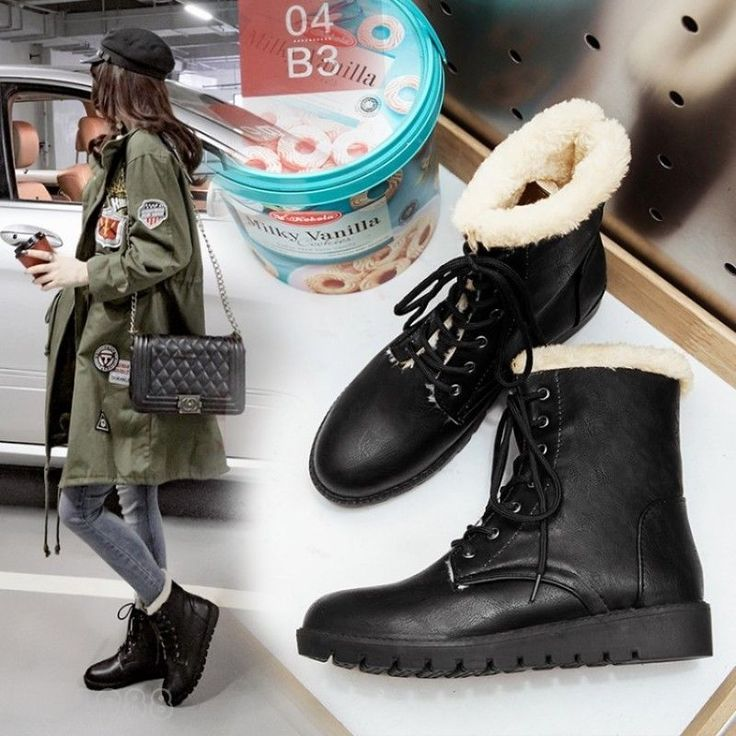 2017 Fashion Women's Winter Ankle Boots Fur Lined Warm Lace Up Military Boots #