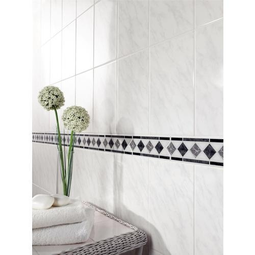 Carrara ceramic wall tiles black white tiles decorative tiles tiles floors wickes Wickes bathroom design ideas
