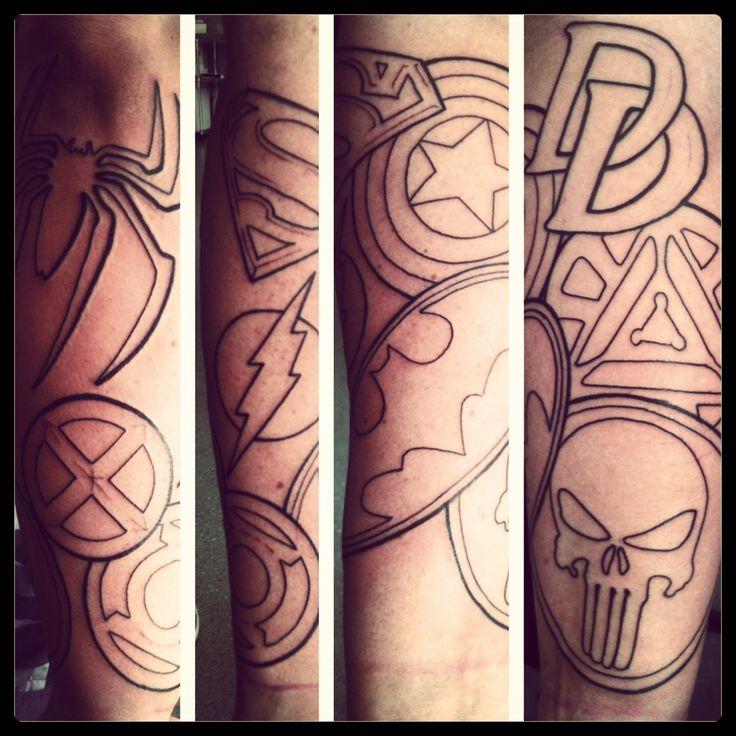 Best 11 superhero tattoo ideas for jamie ideas on for Superhero tattoo sleeve