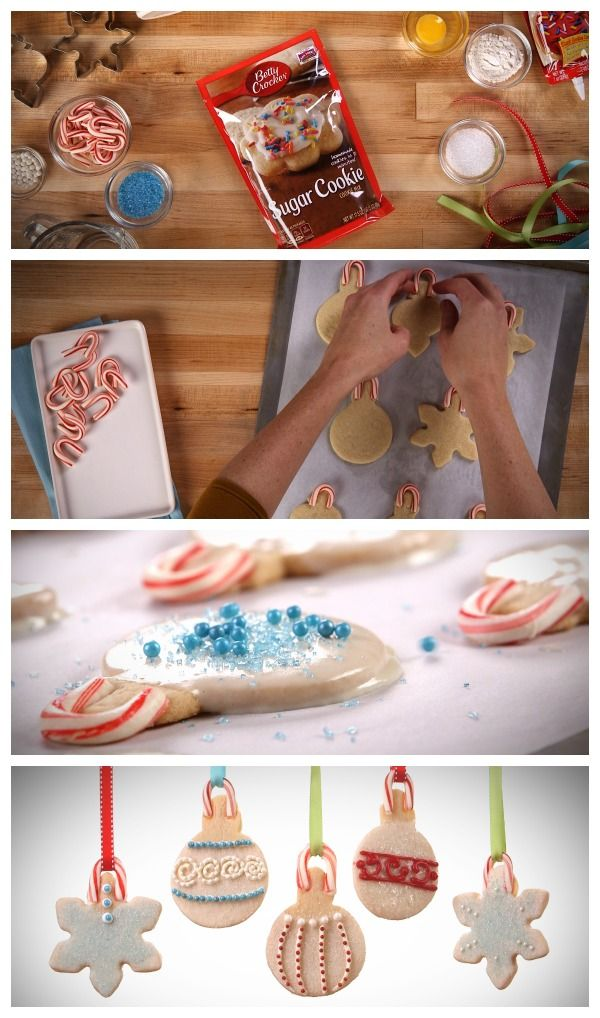 Candy canes are the sweet baked-in hooks for this easy-mix sugar cookie. Place them on the cookies in the last 1-2 minutes of baking to make sturdy cookie ornaments!