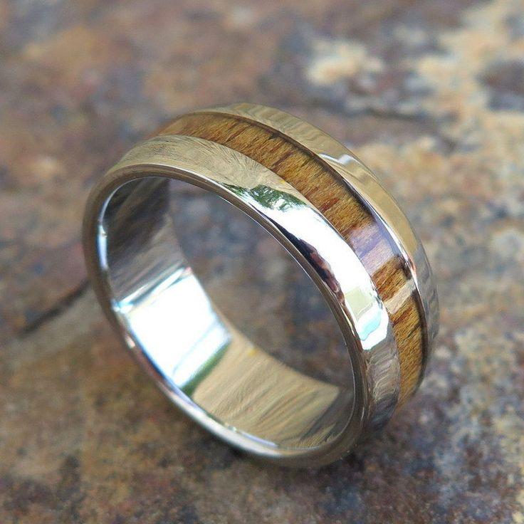 Genuine Hawaiian Koa Wood Inlay Titanium Jewelry Wedding Ring Band 8Mm Twr1014