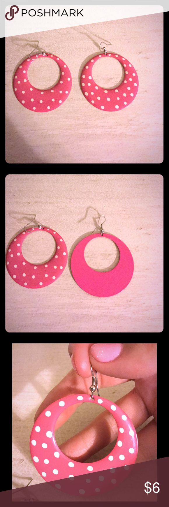 Pink polka dot earrings Pink polka dot earrings! Super cute! I honestly bought them to wear for tacky day as a teacher but not to say they can't be worn any other day. I think they are adorable! Just not my style. I'm asking $6 or best offer. Jewelry Earrings