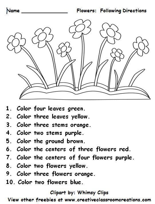 Freebie: Following Directions... Students will love reading color and number words as they follow directions on this cute worksheet. Other freebies are available to download at: www.creativeclassroomconnections.com.