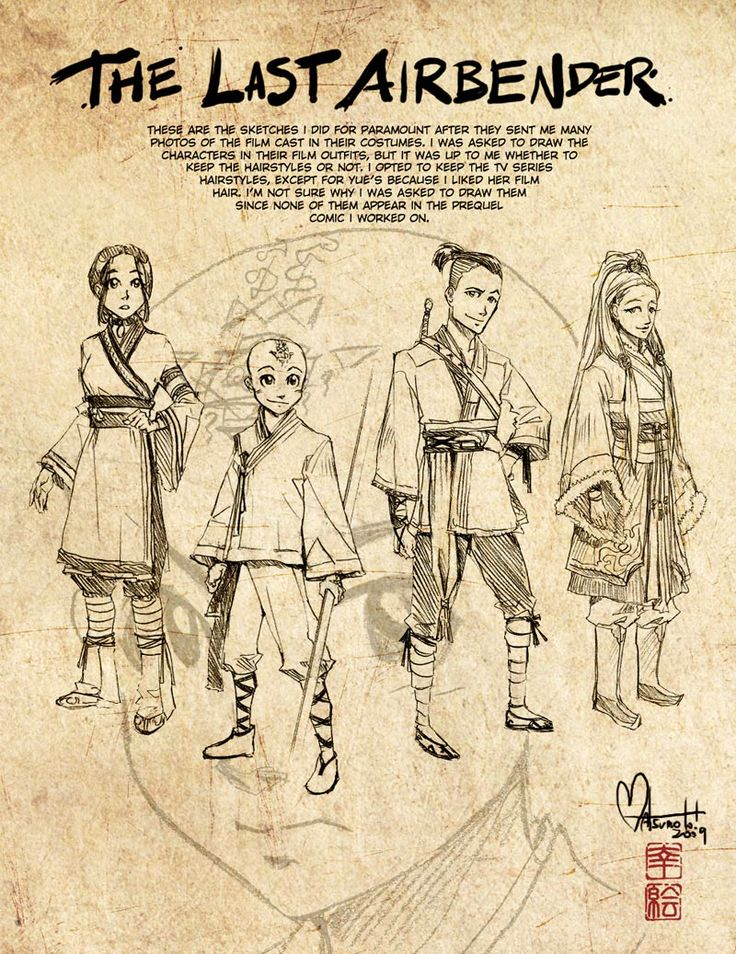 Second Last Airbender Sketches by `spacecoyote on
