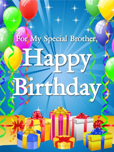 """For my Special Brother - Happy Birthday Card: Do you have a special brother? Is it time for his birthday? Then make his day extra special by sending him a party in a birthday card! This Happy Birthday card has all the best parts of a great birthday party- gifts, decorations, and colorful balloons! Celebrate your special brother's special day by sending him this card to say """"Happy Birthday"""" today!"""