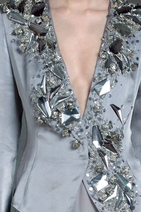 Crystal bead encrusted jacket - couture embellishment; silver fashion details // Donna Karan