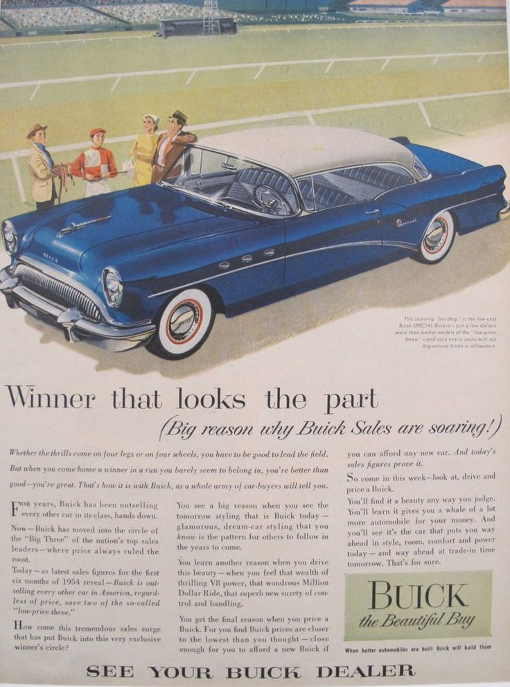 1960s Matted American Car Advertisement, Buick Special Riviera. A fabulous lithographic car advertisement printed in the 1960s featuring Buick's SPECIAL Riviera and extolling the advantages.