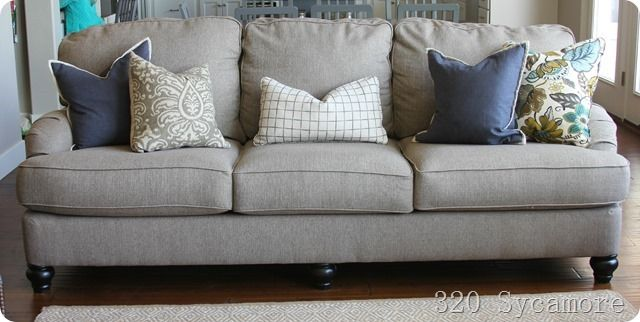 Neutral sofa with colorful pillows 320 sycamore 3 for Neutral color furniture