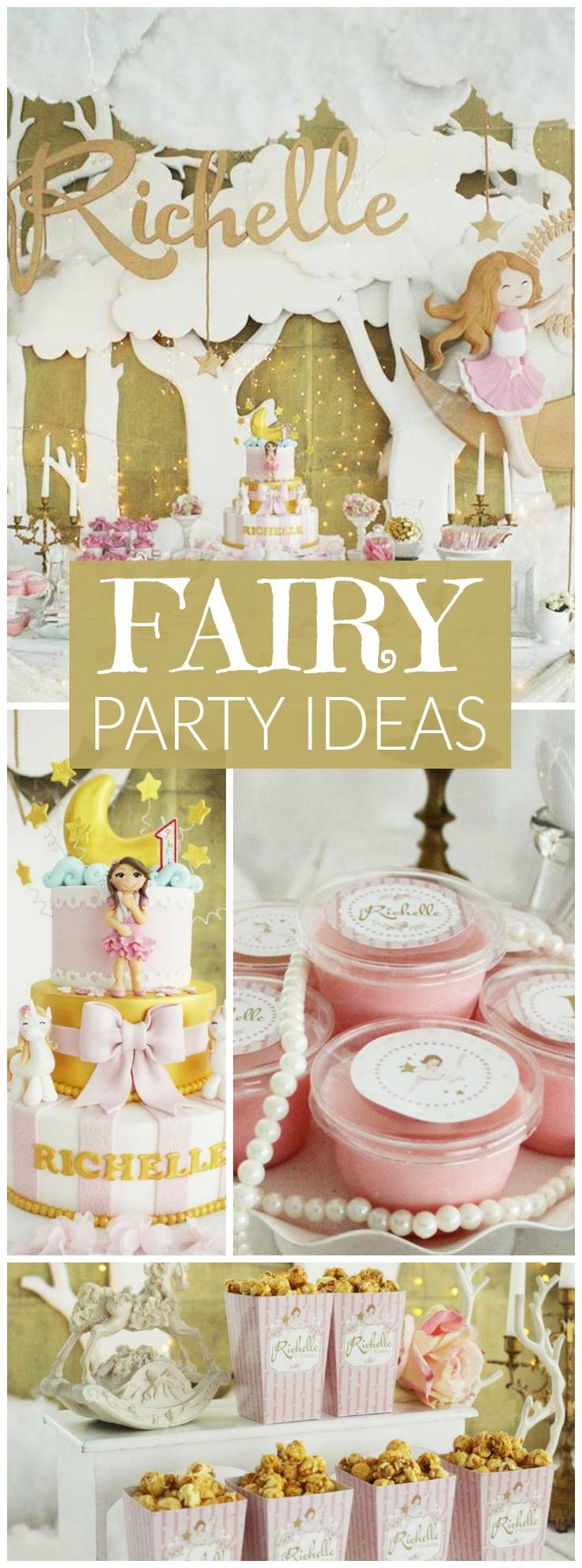 Love this magical pink and gold fairy girl birthday party! See more party ideas at CatchMyParty.com!