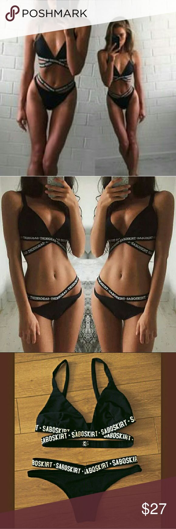 Strappy black swimsuit Small and medium available  Black strappy bikini top and bottom  No brand Swim Bikinis