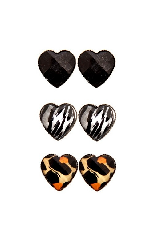 Black Animal Print Earring Trio