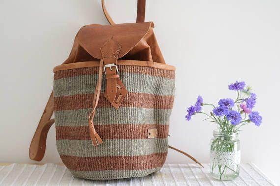 Sisal and leather backpack, african bag, bolso, boho Tasche,boho style, summer backpack, made in kenya.