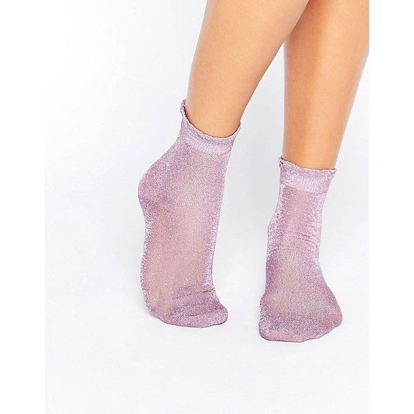 Monki Sheer Glitter Frill Sock (160 MXN) ❤ liked on Polyvore featuring intimates, hosiery, socks, purple, sheer socks, purple socks, glitter socks, cuff socks and see through socks