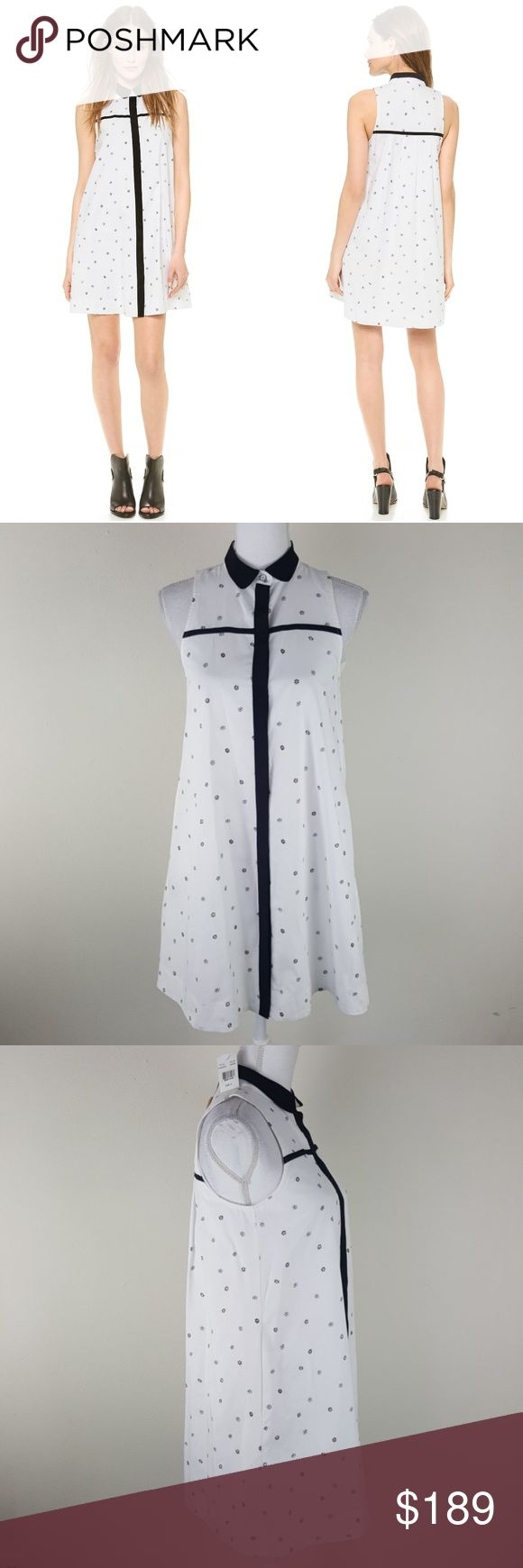 "NEW $395 Rag & Bone White London Dress Size Small Size Small NEW WITH TAGS! Excellent Condition! No rips, stains, etc.  Measurements taken un-stretched & laying flat: Armpit to Armpit: 18"" Length: approximately 34""  DETAILS Tiny flowers create a delicate, dotted effect on this Rag & Bone dress. The fold-over collar and hidden-button placket are cut from stretch silk for bold, lustrous contrast. Pleating in back. On-seam pockets. Lined.  Fabric: Soft, crisp weave. Shell: 100% cotton. Trim…"