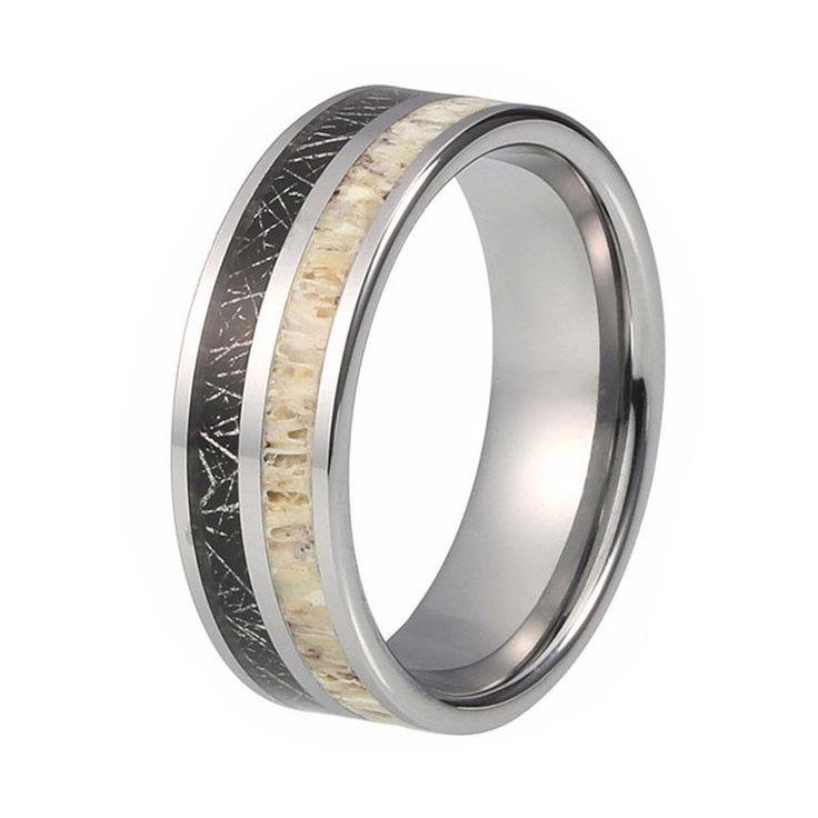 8mm Deer Antler Wedding Ring with Black Meteorite Inlay