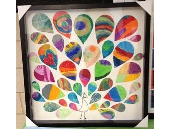 Peacock Collage, wall art by Ms. Goochs 3rd graders - Online Fundraising Auction - BiddingForGood