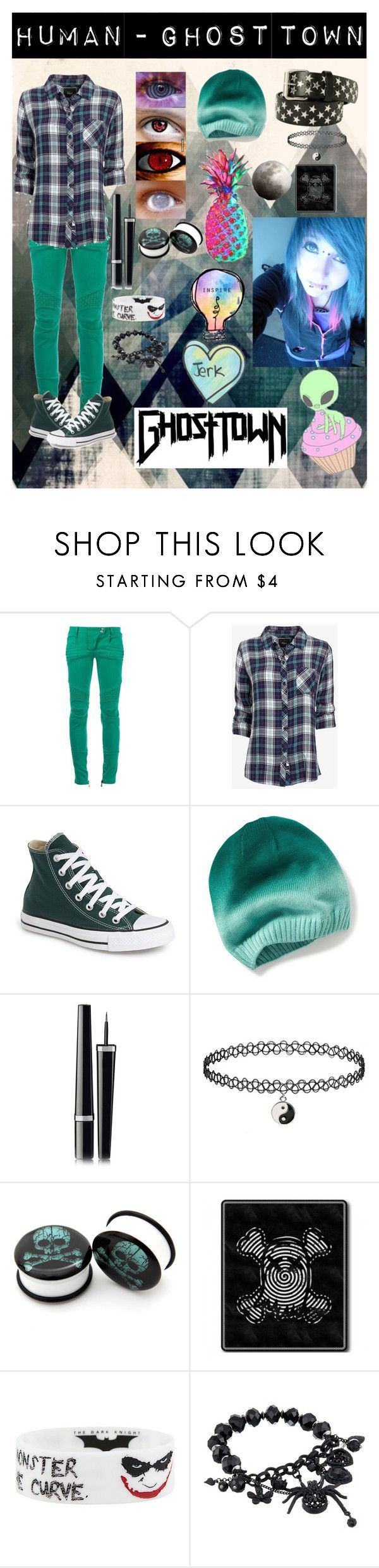 """""""Human - Ghost Town"""" by mychemicalbandoms ❤ liked on Polyvore featuring Balmain, Rails, Converse, Chanel and Betsey Johnson"""