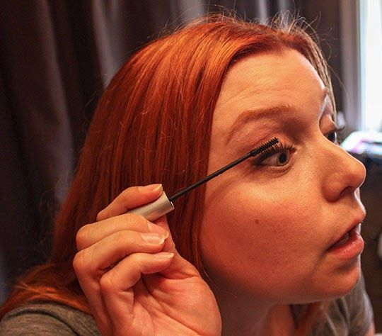 Layering waterproof mascaras starting at the base of the lash locks in curl and gives more