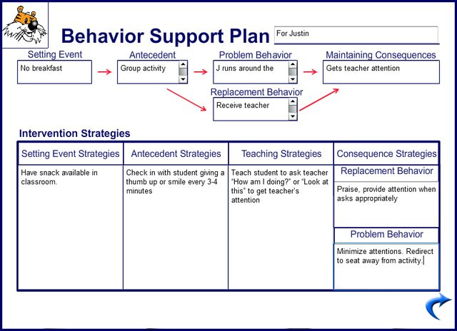 POSITIVE BEHAVIOR SUPPORT PLAN | Large example image of the Behavior Support Plan card.