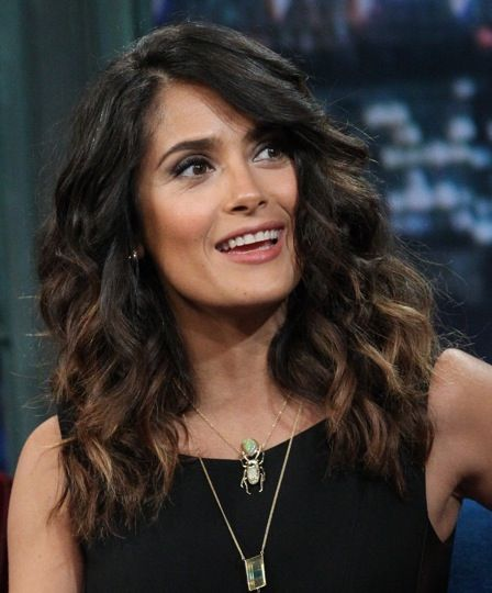 Salma Hayek on Jimmy Fallon - Ok so it looks like I'm gonna tone down my obre, add a few flashy highlights, and grow out my bangs. :)