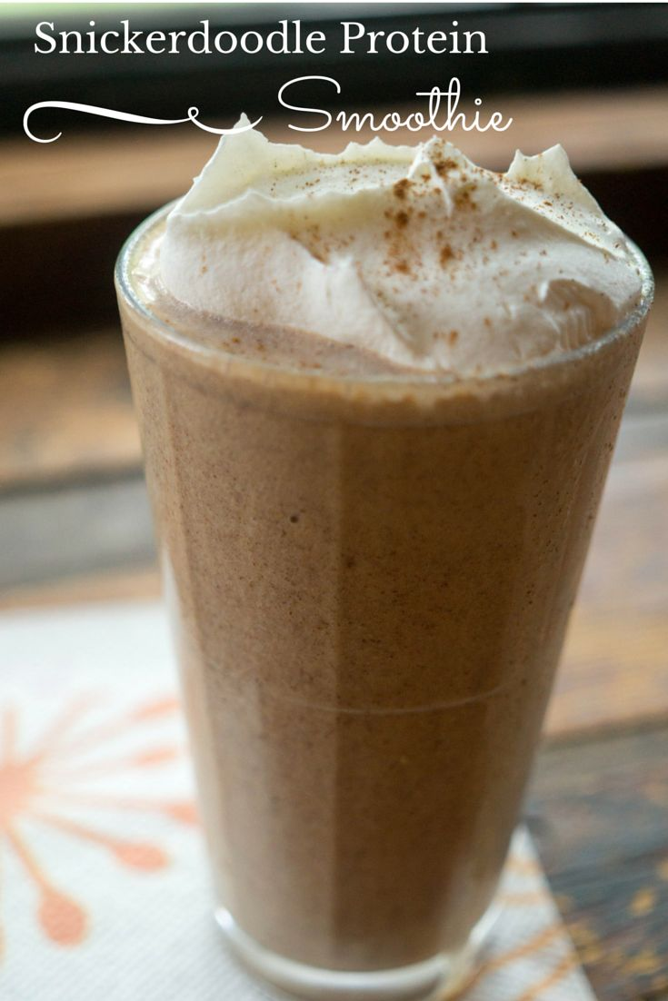 Check out this yummy and healthy snickerdoodle protein smoothie recipe (I used vanilla shakeology)