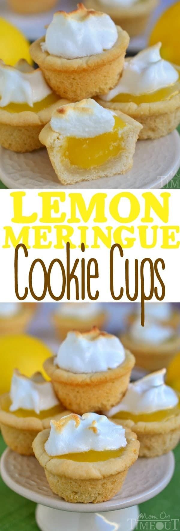 Lemon Meringue Cookie Cups are the perfect dessert for my lemon lovers out there! Sugar cookie cups pair perfectly with the refreshingly tart lemon curd filling in these sweet little Lemon Meringue Cookie Cups!The lemon curd filling is made in the microwave and is going to be your new favorite thing - promise. I love these delightful little cups for parties and entertaining.  // Mom On Timeout #lemon #cookie #cookies #cups #lemoncurd #curd #meringue #dessert #recipe #recipes