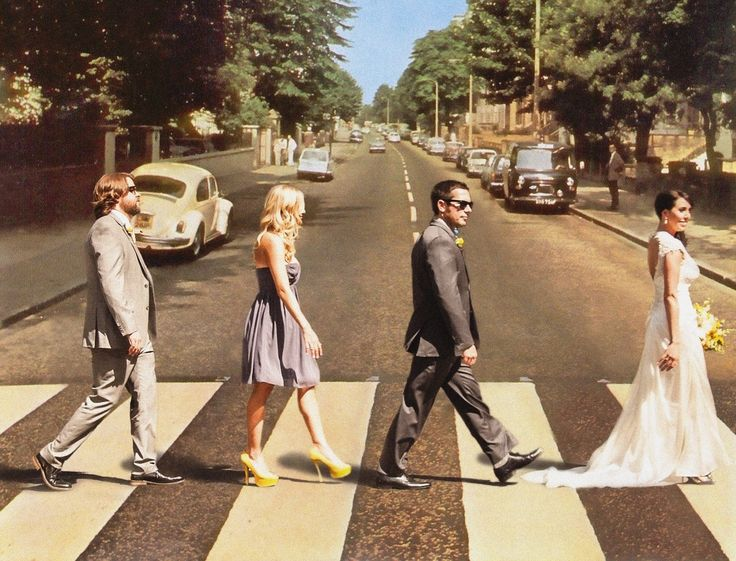 Yellow and Gray. Abbey Road. Beatles Wedding. Bride, Groom, Maid of Honor, Best Man, picture.