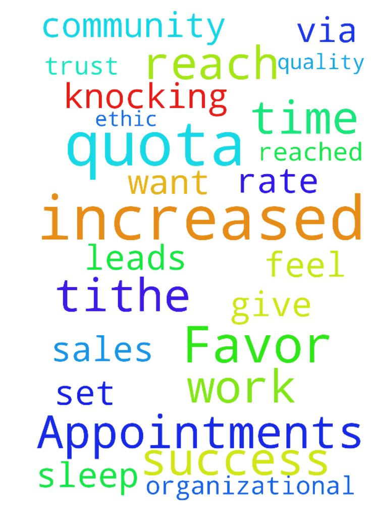 Increased Favor on the Job, Success, Appointments & Installations - Please give me increased favor, a better work ethic, and an increased success rate to set appointments via phone, door knocking, community events, referrals and only quality leads from my administrator and inside sales support. May we learn what is and what is not feasible and required, and only spend time with customers who both want and can get our services. Multiply my time and organizational skills, help me with basic…