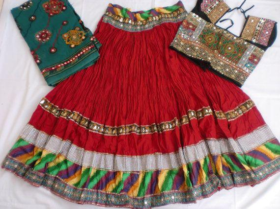 Navratri Chaniya choli Designer Indian Red and black by mfussion, $78.00