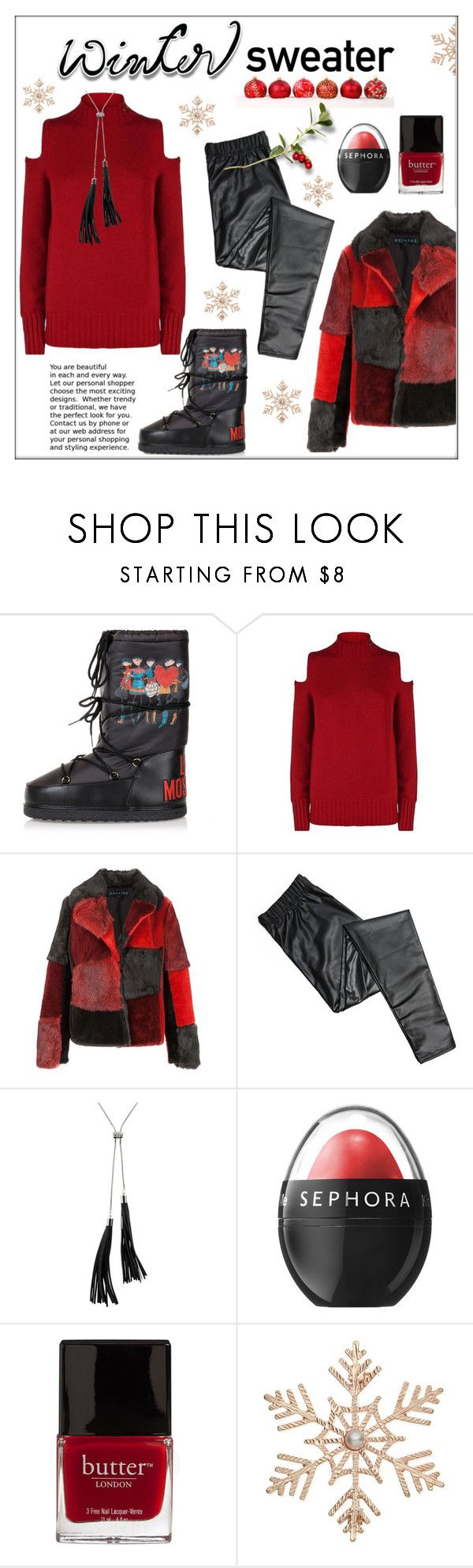 """""""Sweater Weather"""" by pat912 ❤ liked on Polyvore featuring Moschino, Pinko, Jocelyn, White House Black Market, Sephora Collection, Butter London, John Lewis, polyvoreeditorial and wintersweater"""