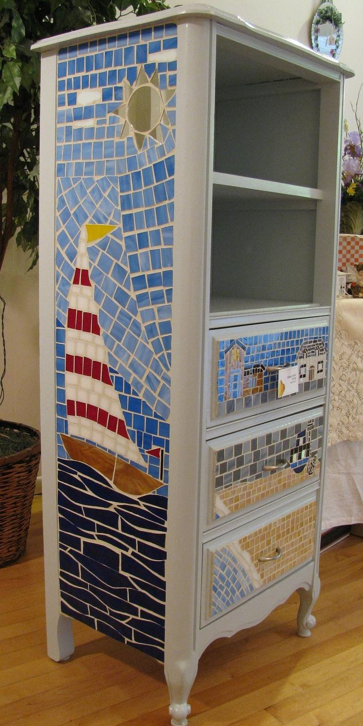 Mosaic Seaside Beach House Cabinet. $350.00, via Etsy.
