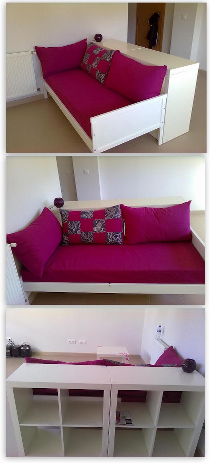 Un sof hecho a partir de una cama infantil sniglar y dos for Camas dos en una