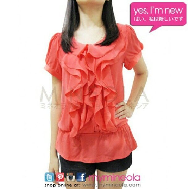 MINEOLA Ruffle Blouse. Also Available in light brown and blue color. Get this with only Rp.275.000,-. Call our CS for ordering.