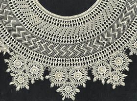 "Handmade Armenian Lace:  ""Another approach to knotted netting has been used in Eastern Mediterranean countries (e.g., Turkey, Cyprus, Palestine), although it is most often called 'Armenian lace.'  Unlike filet, in which the netting merely provides a ground for needle worked patterns, the net structure itself in Armenian lace is decorative.  Groups of threads are combined or separated at will, and individually made circular pieces  may be combined.  Closely knotted areas contrast with open…"